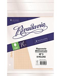 Papel Milimetrado Rivadavia N°3 x 8 Hs.